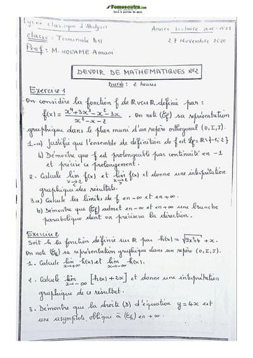 Collection de sujet de Mathématique Terminale D 2021