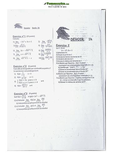 Devoir de Mathématique Série D Lycée Classique Abidjan